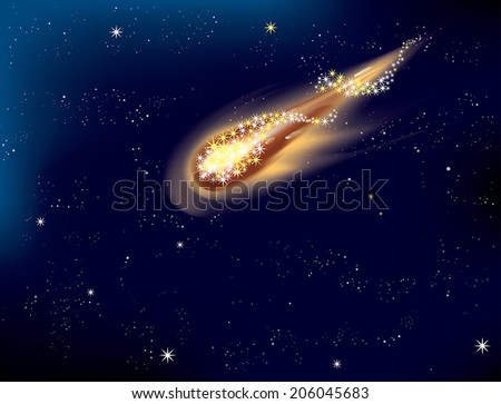 Shooting star in the night sky - EPS 10 - stock vector