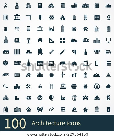 shop building icons on white background  - stock vector
