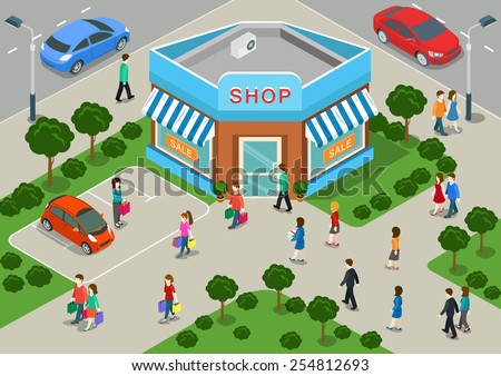 Shop building local store street sale flat 3d web isometric infographic shopping retail business concept vector. Crossroads house window showcase and walking customers. Creative people collection. - stock vector