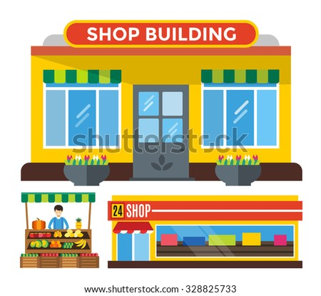 Shop buildings and fruits stall. Shop building silhouette, shop vector building. Fruits shop, shop building. Some shop vector illustration. Shop kiosk vector outdoor. Shop building, fruits shop - stock vector