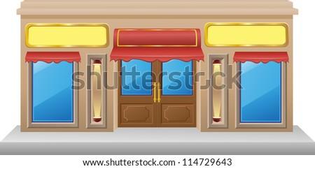 shop facade with a showcase vector illustration - stock vector