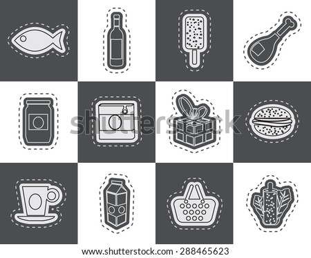 Shop, food and drink icons 1 - vector icon set - stock vector