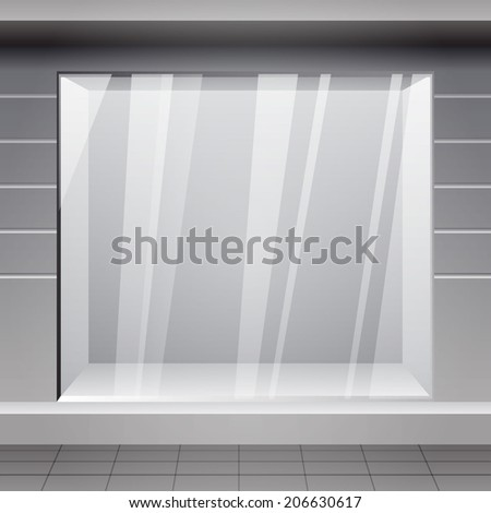 Shop Front. Exterior horizontal windows empty for your store  - stock vector