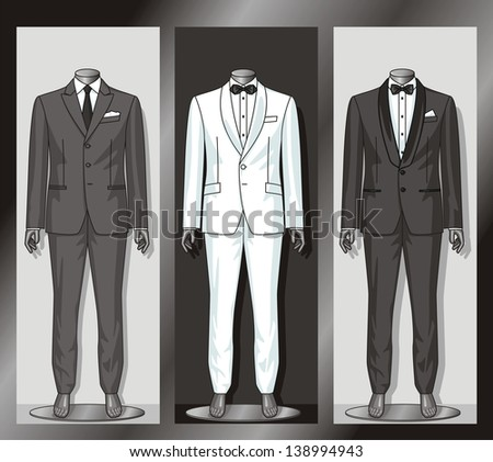 Shop show-window with clothes for the businessman - stock vector