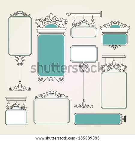 Shop Sign Pole Information Frame Route Plate Victorian Style - stock vector
