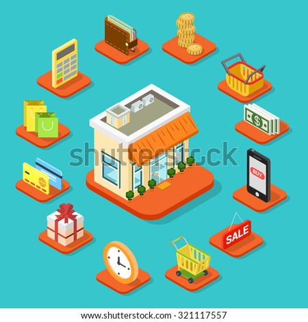 Shop store building infographic icon set flat 3d isometric style. Coin shopping cart bag banknote smart phone sale work schedule gift credit card calculator wallet. Business info graphics template. - stock vector