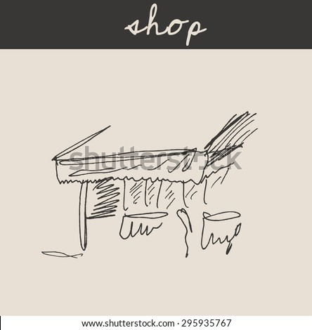 Shop storefront with awning , in engraving etching sketch hand drawing style, for shopping business design - stock vector