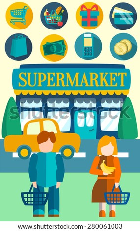 Shop, supermarket: fruits, vegetables, drinks, cash, shopping basket. Buyers and the shop on the road. Vector flat illustrations - stock vector