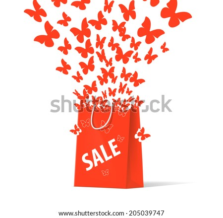 shoplifting red handbag on a white background - stock vector