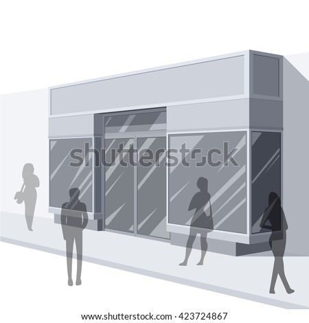 Shopping. Abstract illustration of Urban Shop Facade and People Shopping. Side view. Retail Series. Vector EPS10. - stock vector