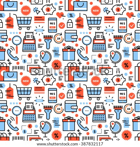 Shopping and discounts icons square seamless pattern. For store sales decoration. Thin line art flat objects texture illustration. - stock vector