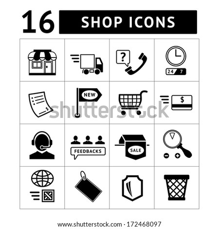 Shopping and e-commerce icons set isolated on white. Vector illustration - stock vector
