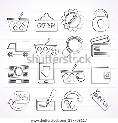 shopping and retail icons - vector icon set - stock vector