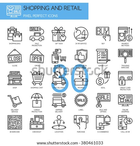 Shopping and Retail , thin line icons set - stock vector