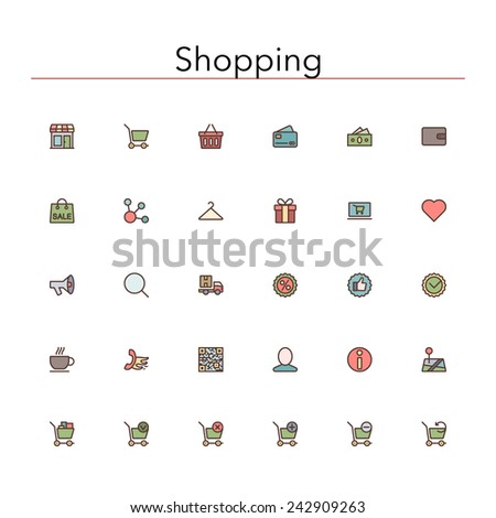 Shopping and sale colored line Icons set. Vector illustration. - stock vector