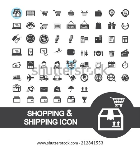 shopping and shipping icon - stock vector