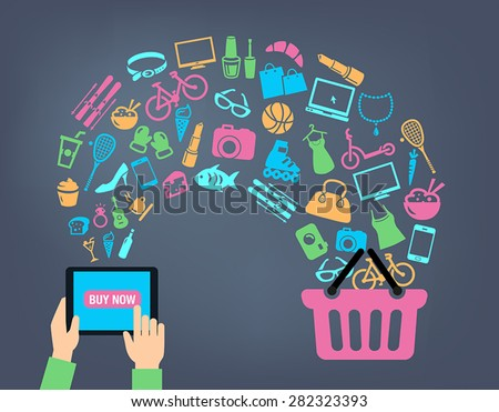 Shopping background concept with icons. shopping online, using a PC, tablet or a smartphone. Can be used to illustrate mobile communication topics or consumerism. - stock vector