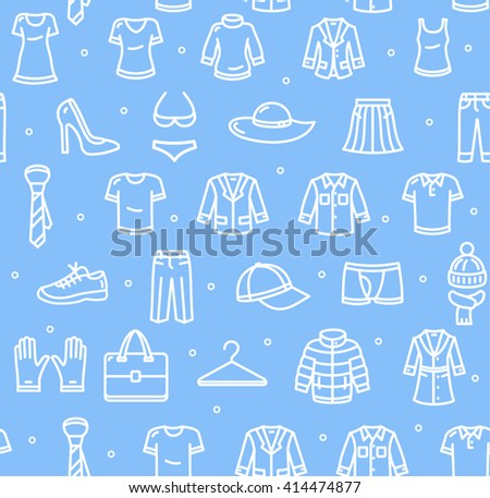 Shopping Background Pattern on Blue. Vector illustration - stock vector