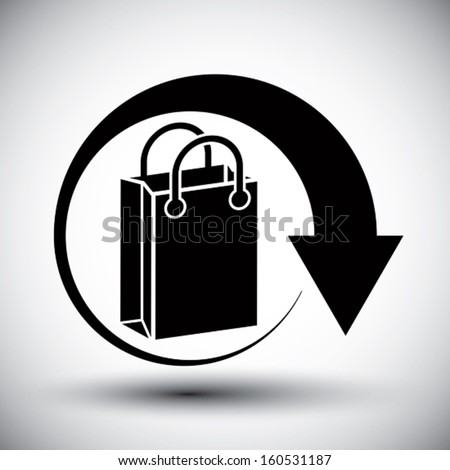Shopping bag delivery vector simple single color icon. - stock vector
