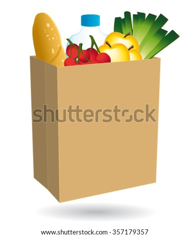 Shopping bag filled with food. Free delivery or nearby merchant icon.  - stock vector
