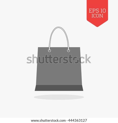 Shopping bag icon. Flat design gray color symbol. Modern UI web navigation, sign. Illustration element - stock vector