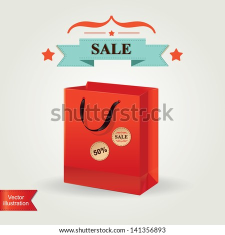 Shopping bag  isolated.Vector illustration. - stock vector