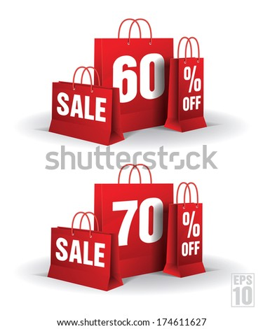 Shopping bag printed with a 60% and 60% discount on a white background. Vector. Isolated. - stock vector