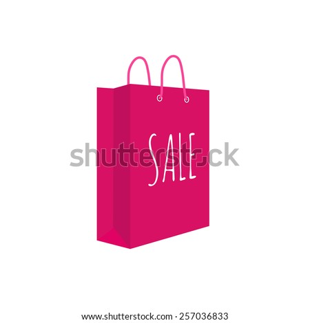 Shopping bag. Sale text, vector illustration. Isolated on white. - stock vector