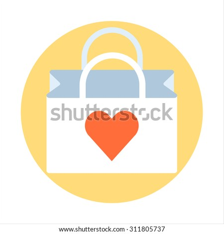 Shopping bag theme, flat style, colorful, vector icon for info graphics, websites, mobile and print media. - stock vector