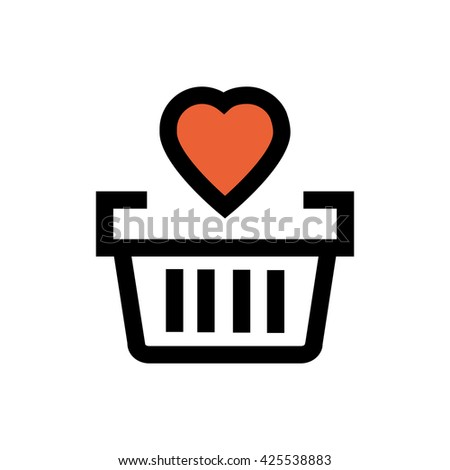 Shopping bag, valentine's day, love line icon. Pixel perfect fully editable vector icon suitable for websites, info graphics and print media. - stock vector