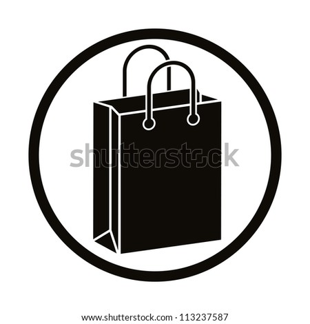 Shopping bag vector icon. - stock vector