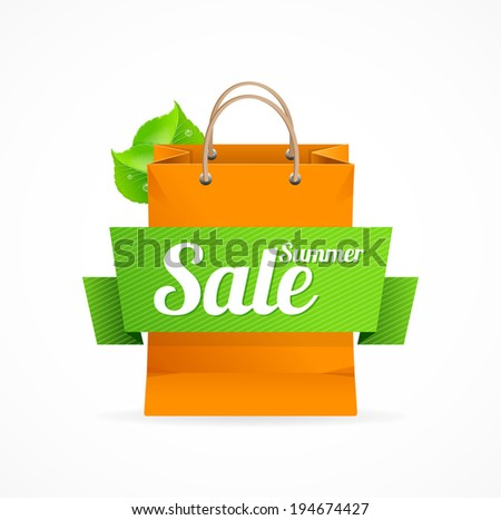 Shopping bag with inscription SALE on ribbon. - stock vector