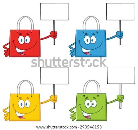 Shopping Bags Cartoon Character 1. Vector Collection Set - stock vector