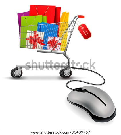 Shopping bags in shopping cart and computer mouse. Concept of e-shopping. Vector illustration. - stock vector