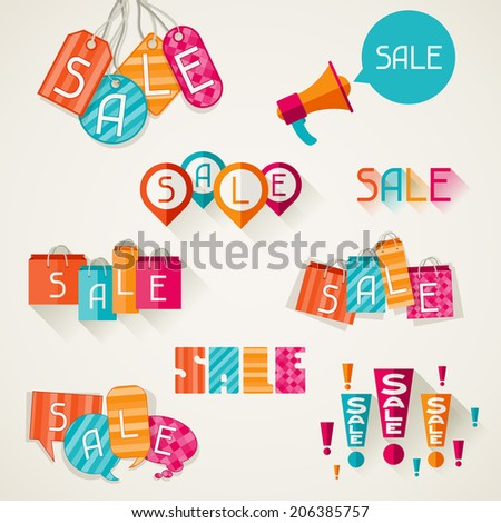 Shopping bags, price labels in flat design style. - stock vector
