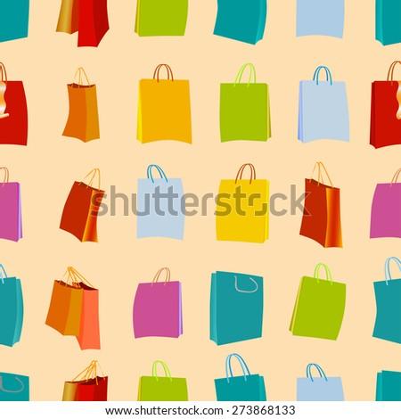 Shopping bags seamless background, vector set. - stock vector