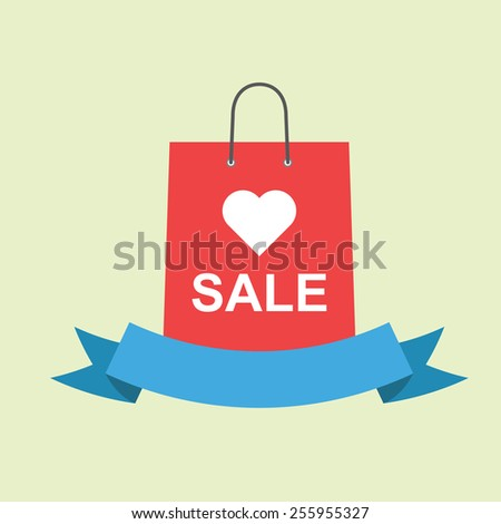 shopping bags with love sale and ribbon - stock vector