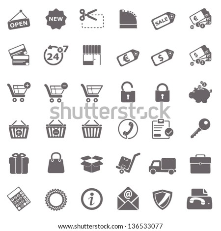 Shopping basic icons - stock vector