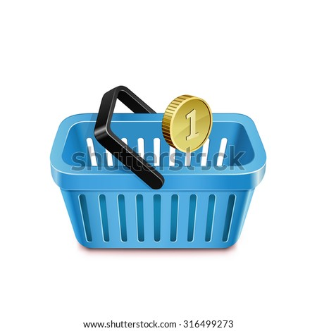 Shopping basket and coin. Purchasing power parity. Vector illustration - stock vector