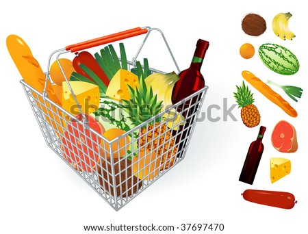 Shopping basket. Vector. - stock vector