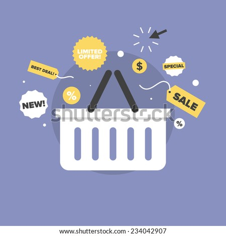 Shopping basket with discount price label, black friday big sales, limited offer tag, special prices coupon. Flat icon modern design style vector illustration concept. - stock vector