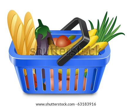 Shopping Basket With Food. Blue shopping basket full of products - stock vector