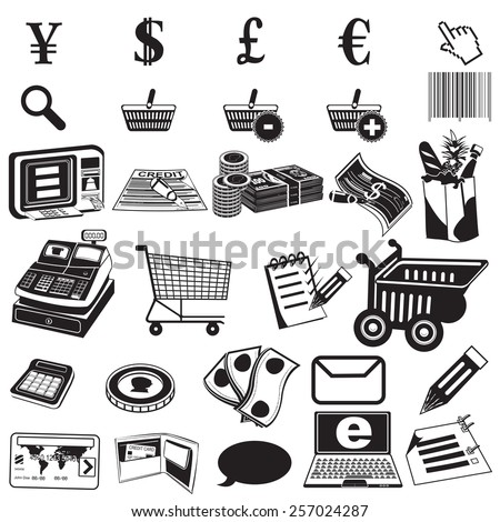 shopping black icons - stock vector