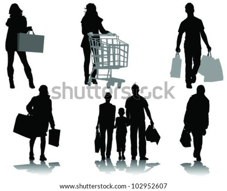 Shopping, black silhouettes with shadows-vector - stock vector