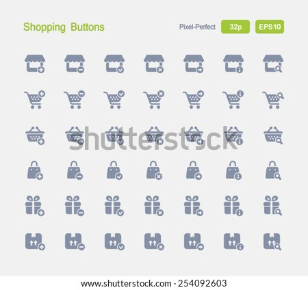 Shopping Buttons. Granite Icon Series. Simple glyph style icons designed on a 32x32 pixel grid. - stock vector