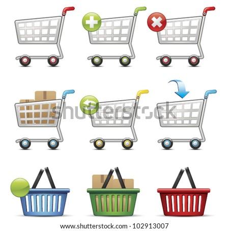 Shopping Cart and Basket - stock vector