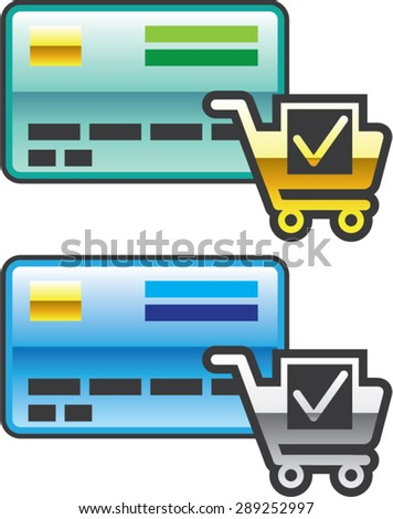 Shopping cart and Credit Card Icon Vector - stock vector
