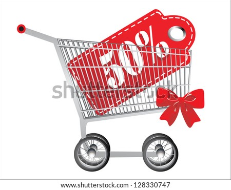 Shopping cart and red fifty percentage discount, isolated on white background. - stock vector