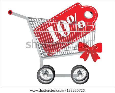 Shopping cart and red ten percentage discount, isolated on white background. - stock vector