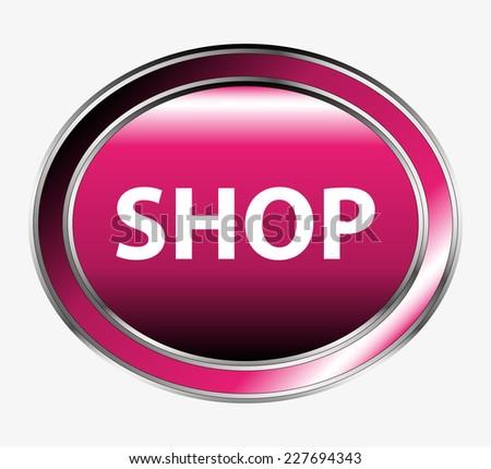 Shopping cart button  - stock vector